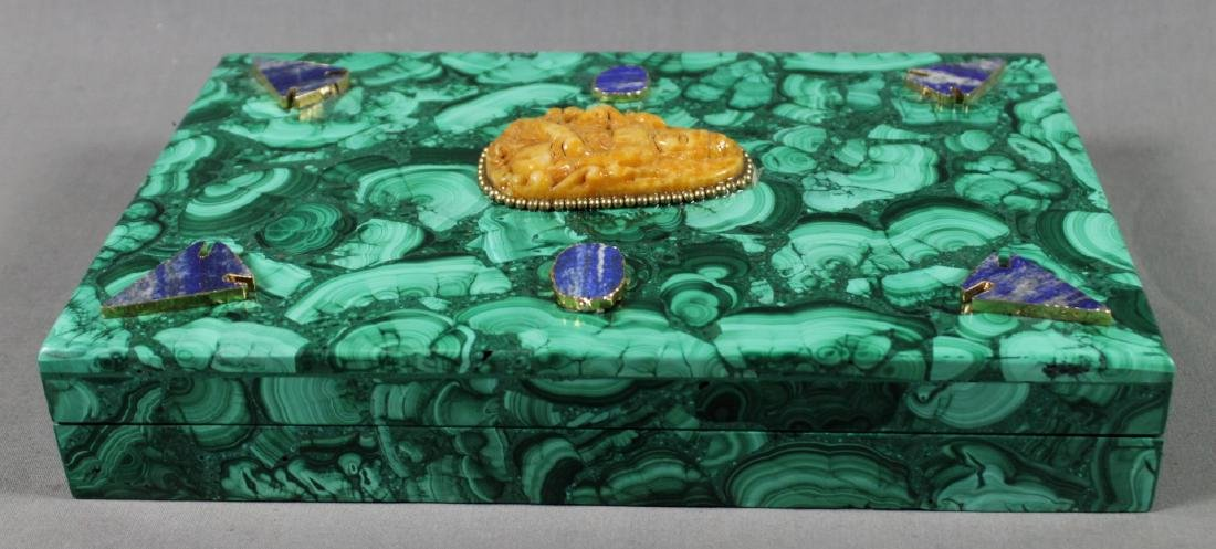 RUSSIAN MALACHITE MOUNTED BOOK SHAPED BOX - 3