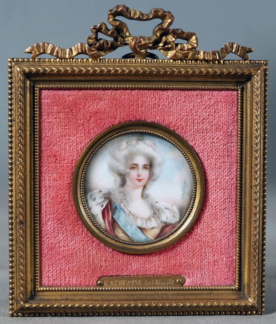 Framed porcelain female portrait in Louis XVI-style