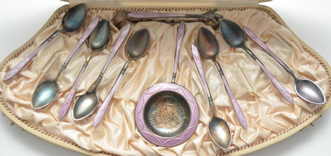 Jacob Tostrup Silver & Enamel Tea Strainer & Spoons