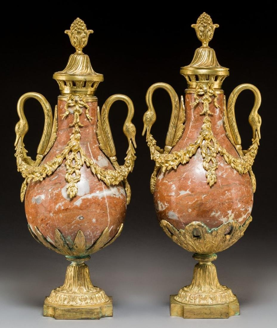 Pair of Louis XVI-Style Gilt Bronze and Rouge - 2