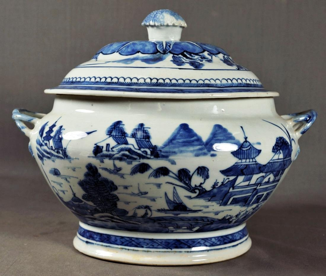 CHINESE BLUE & WHITE EXPORT PORCELAIN TUREEN - 3
