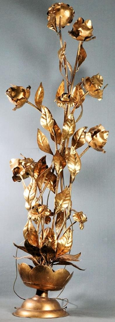 Large Brass Floral Lamp