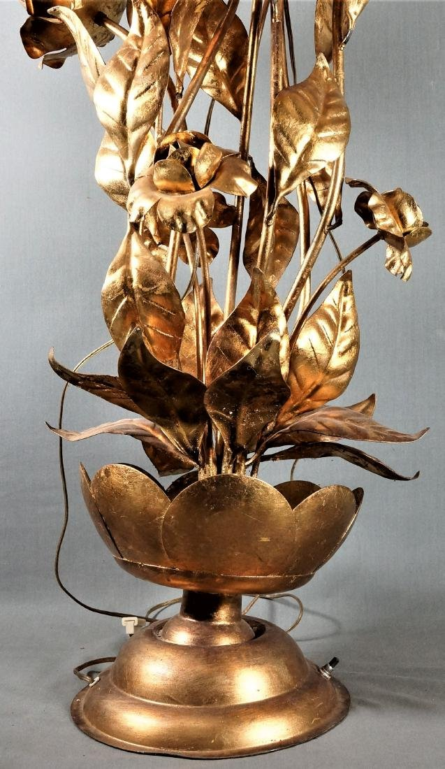 Large Brass Floral Lamp - 2