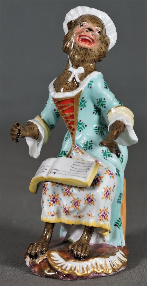Antique Meissen Dresden Porcelain Monkey Choir Member