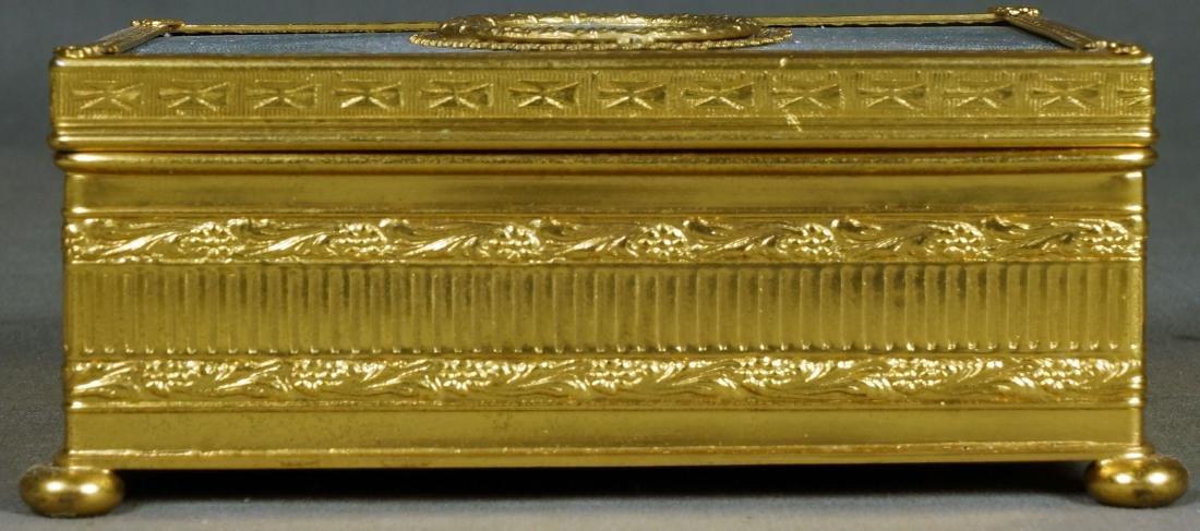 Antique French Bronze and Enamel Box on Bun Feet - 2