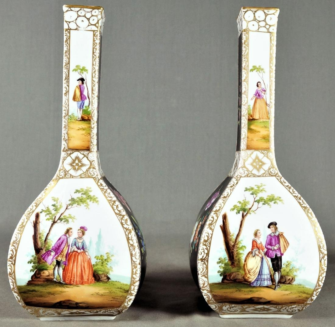 PAIR OF DRESDEN PORCELAIN VASES - 3