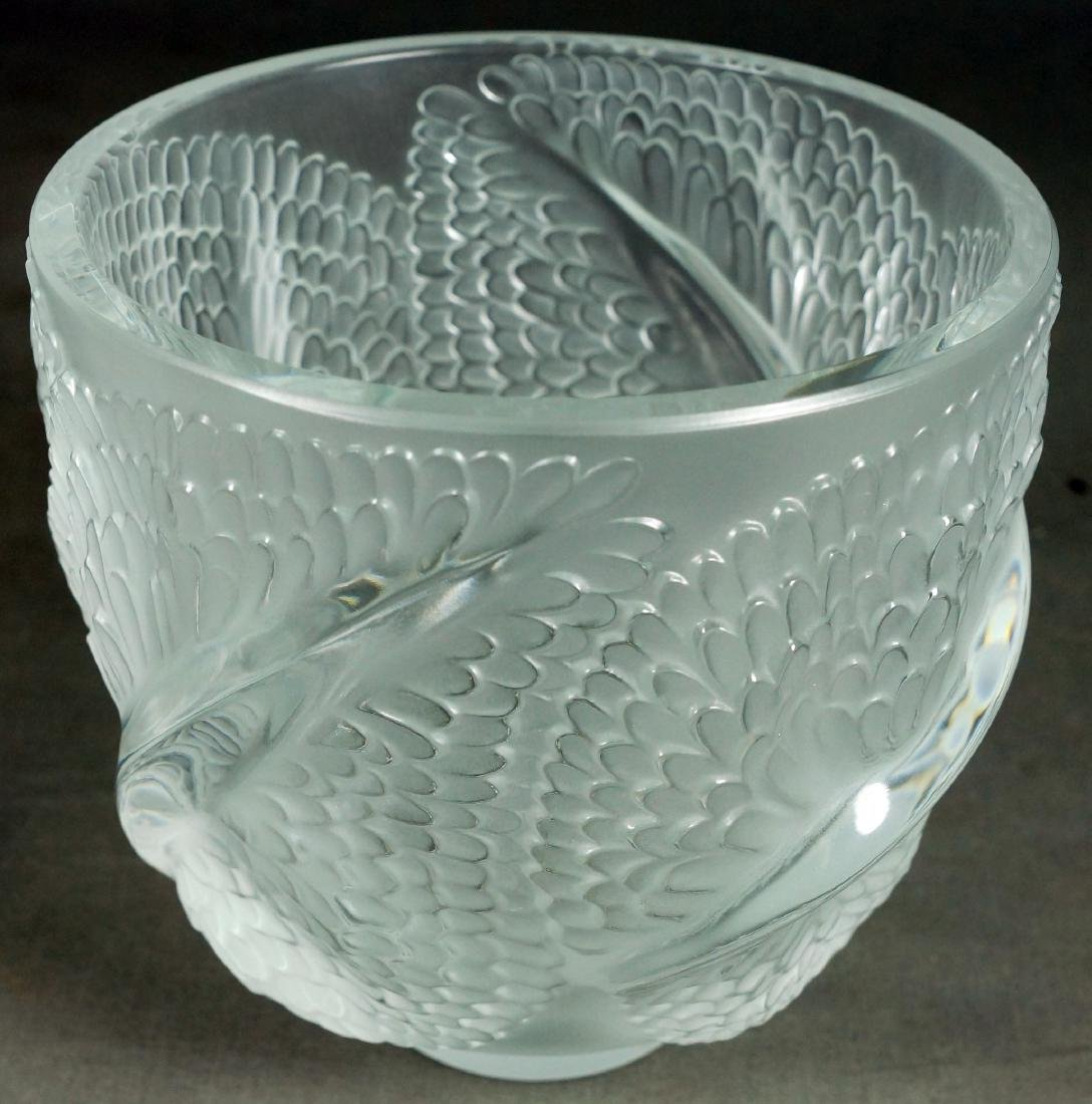 LALIQUE MOLDED GLASS VASE - 4