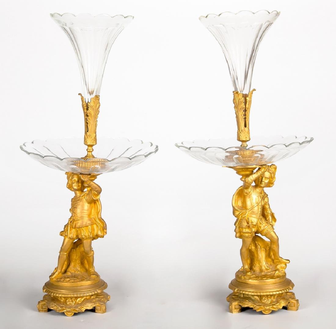 LARGE PAIR OF FRENCH BRONZE FIGURAL GLASS EPERGNES