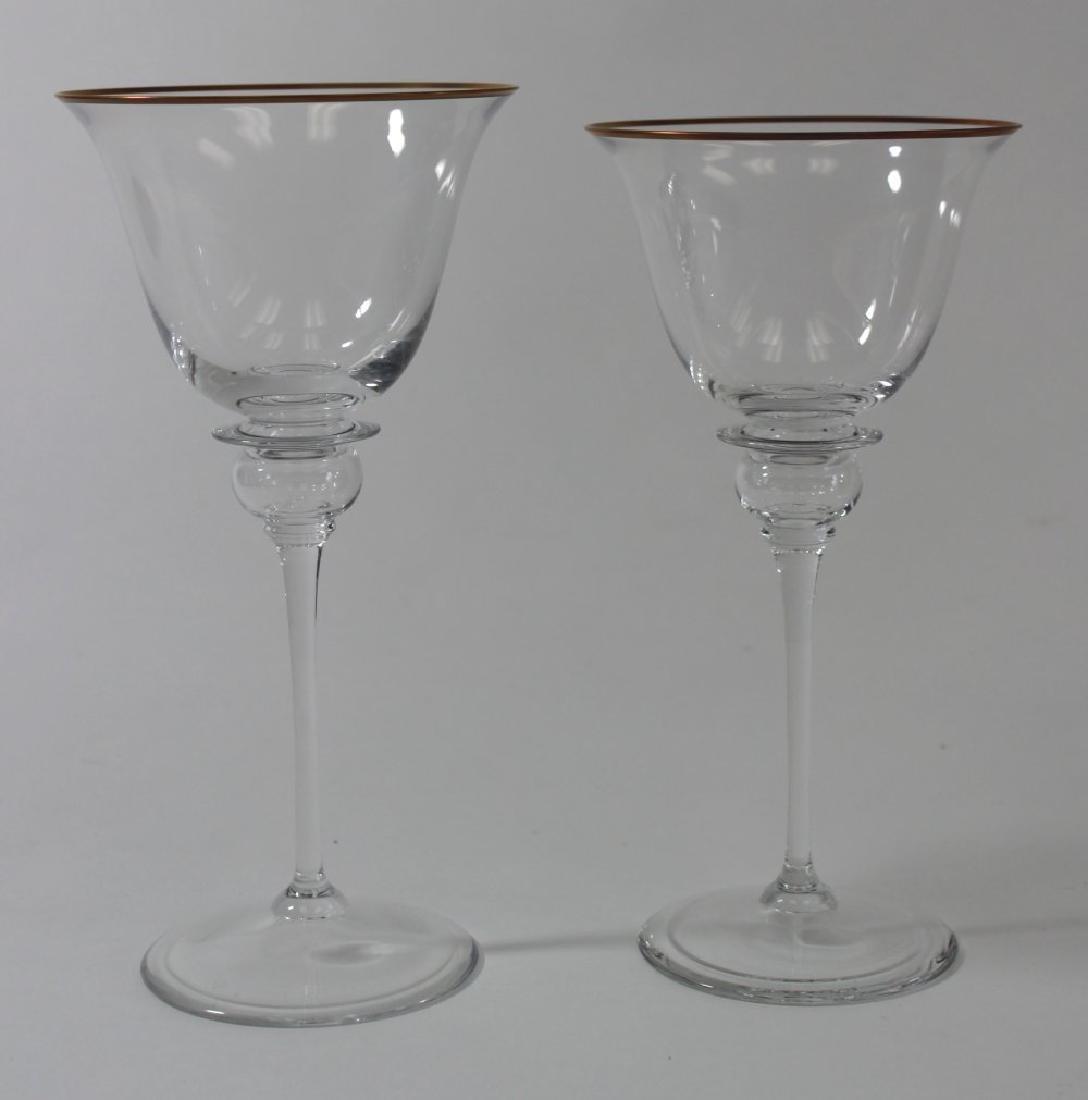 Set of 8 Gucci Glass Gilded Rim Goblets