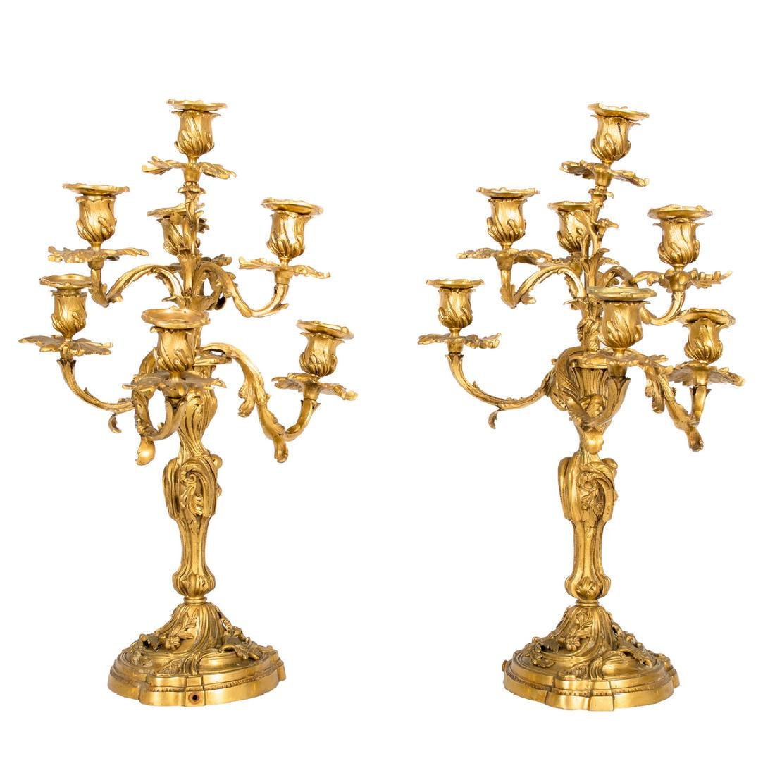PAIR OF FRENCH LOUIS XV STYLE GILT BRONZE CANDELABRA