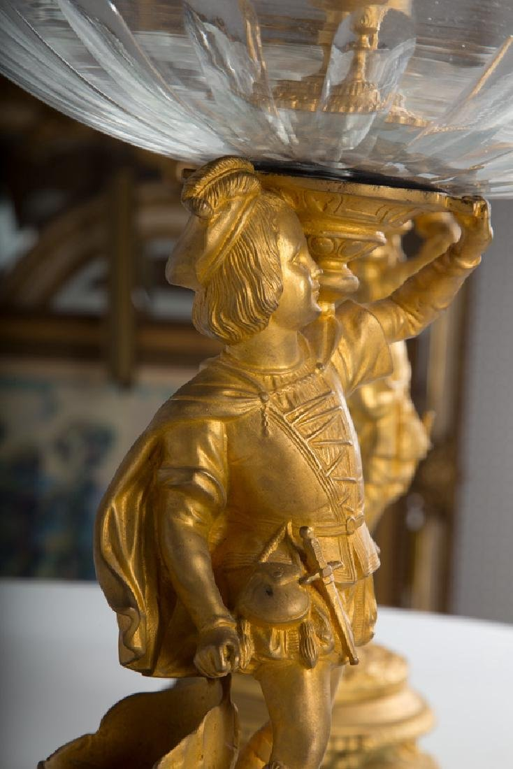 LARGE PAIR OF FRENCH BRONZE FIGURAL GLASS EPERGNES - 8