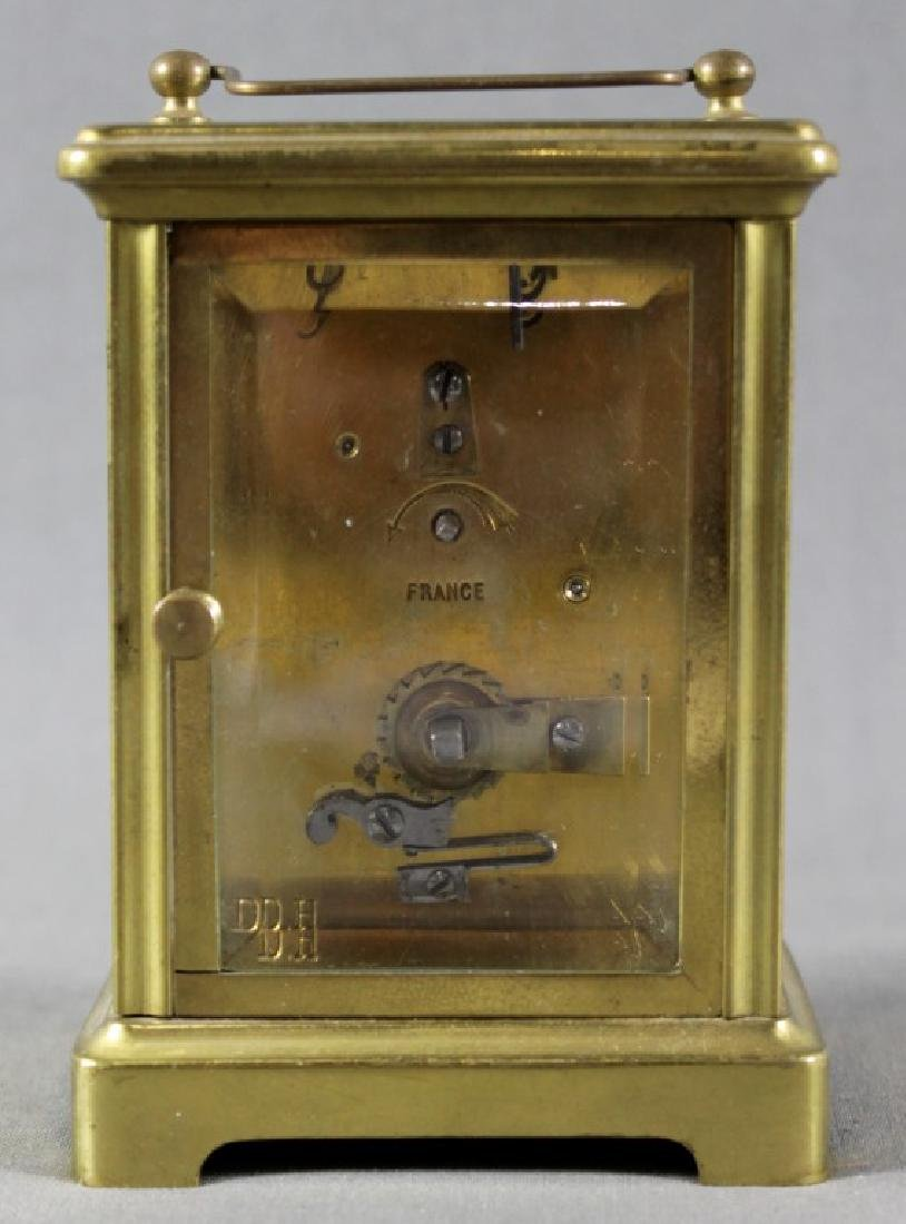 SMALL BRASS CARRIAGE CLOCK - 4