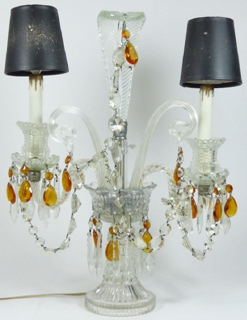 PAIR OF CRYSTAL GIRONDOLE TABLE LAMPS - 6