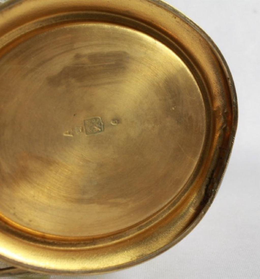 GERMAN ART NOUVEAU CAST BRASS MOUNTED ART GLASS VASE - 10