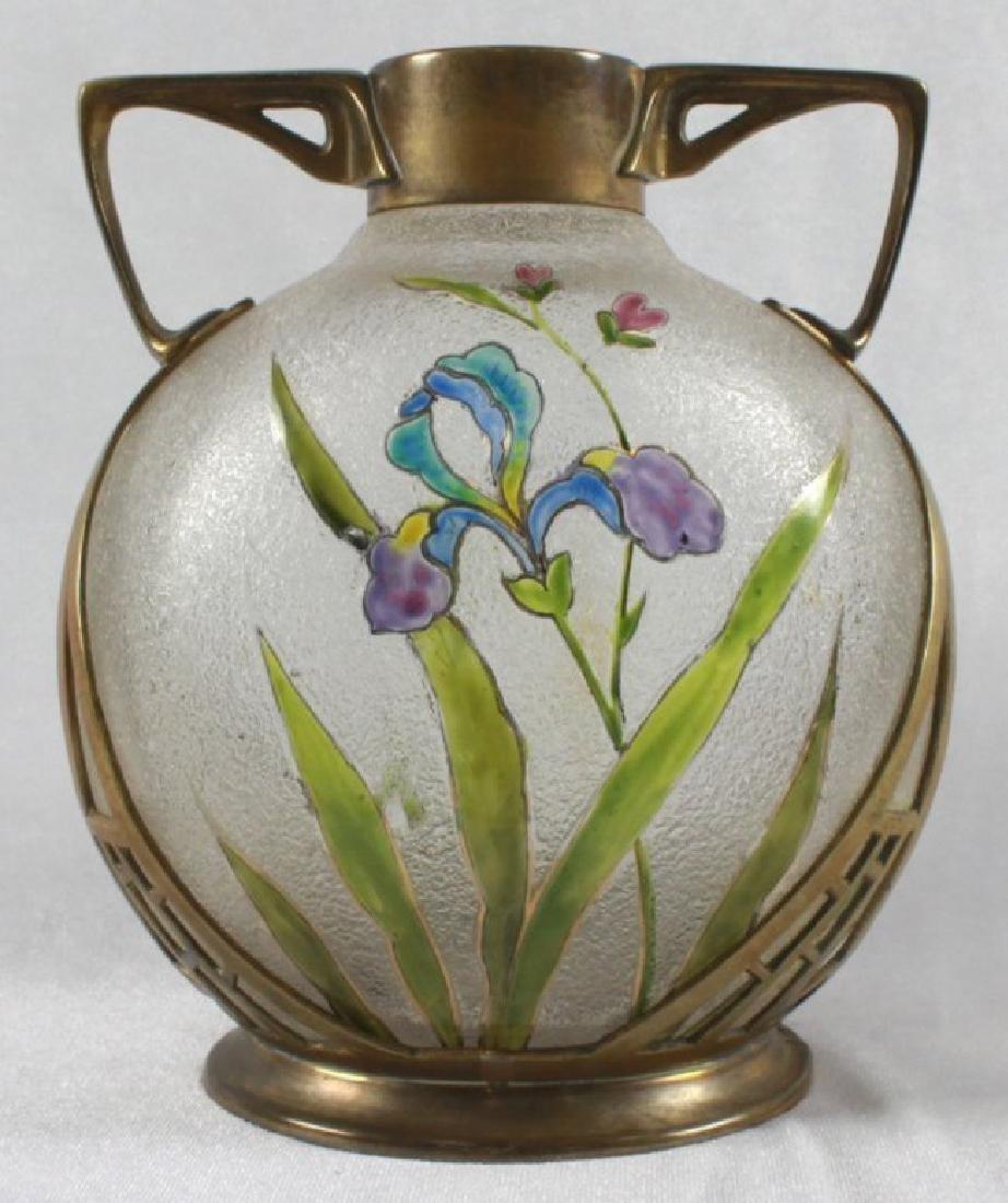 GERMAN ART NOUVEAU CAST BRASS MOUNTED ART GLASS VASE