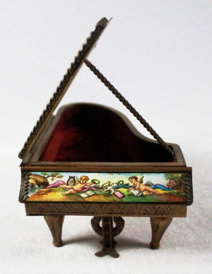 19TH C VIENNESE ENAMEL MINIATURE PIANO - 7