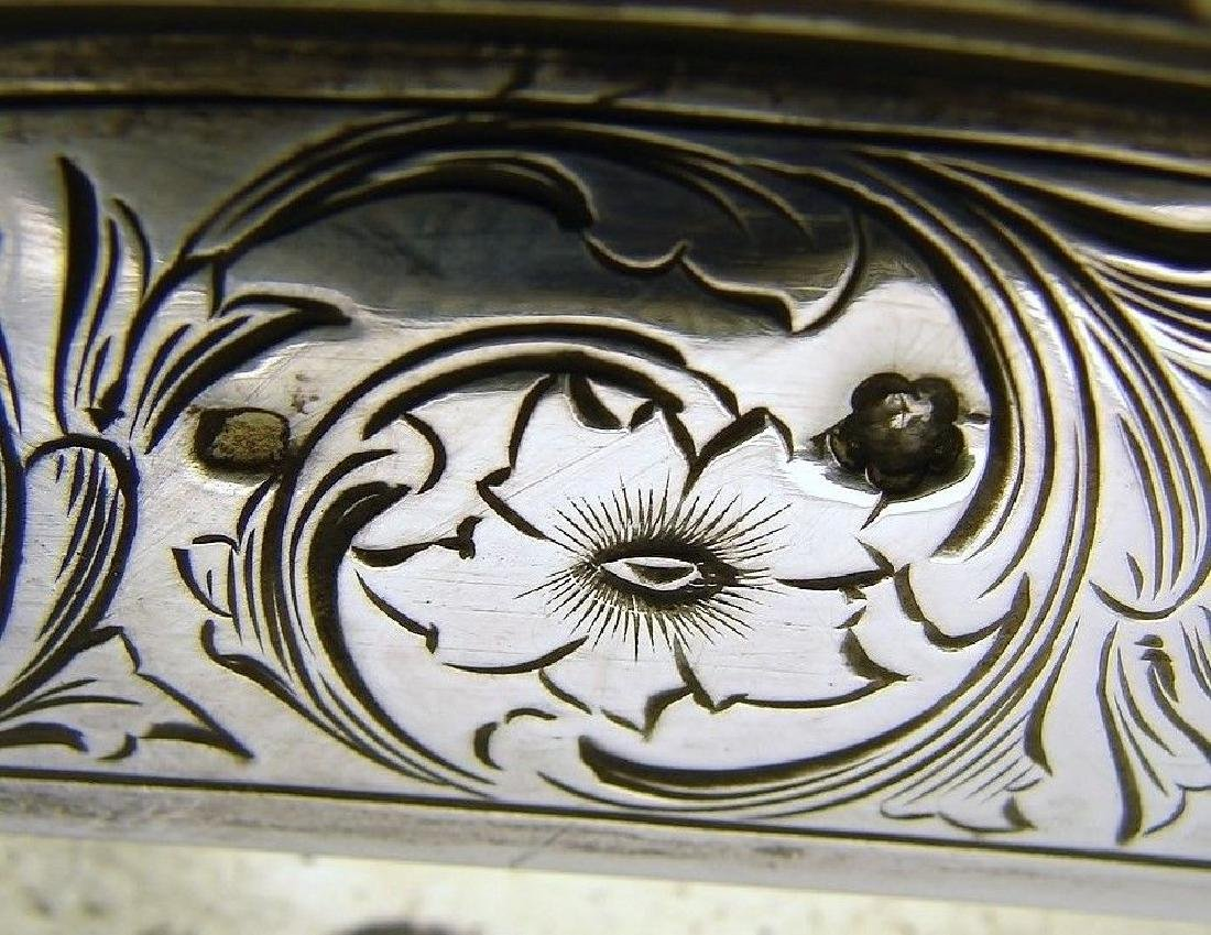STERLING SILVER CHASED WALL DRESSER MIRROR AND FRAME - 2
