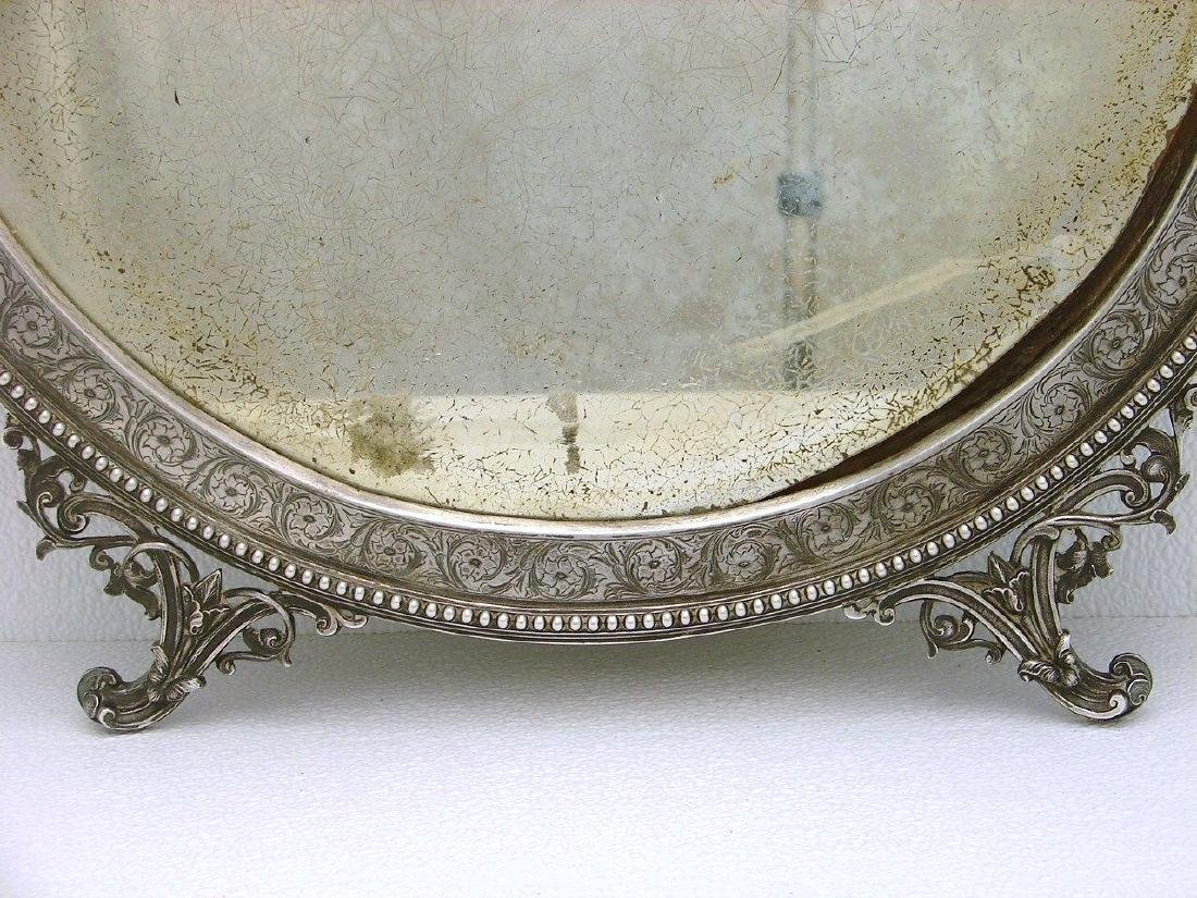 STERLING SILVER CHASED WALL DRESSER MIRROR AND FRAME - 4