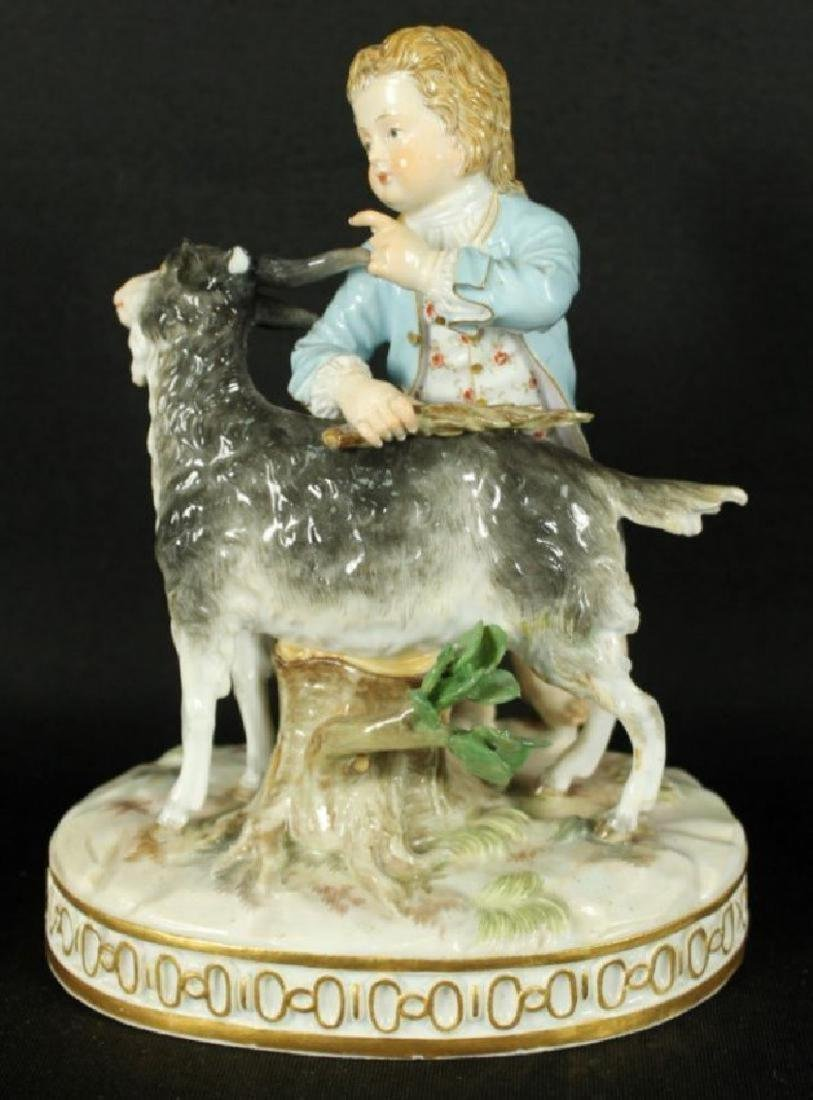 MEISSEN FIGURE OF MAN WITH GOAT