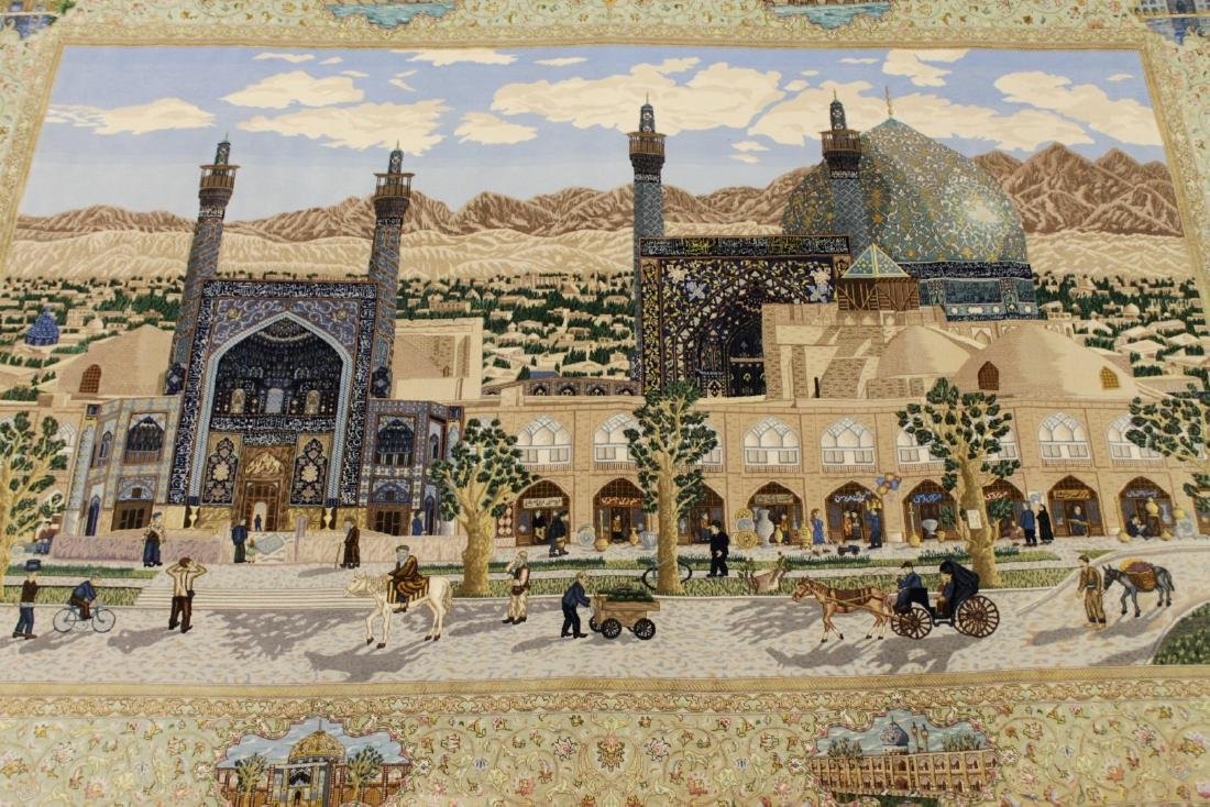 MAGNIFICENT ISFAHAN SCENE SILK AND WOOL RUG W/ GOLD THR - 2