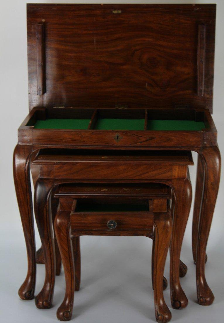 A set of three Copper and brass inlay rosewood nesting - 9