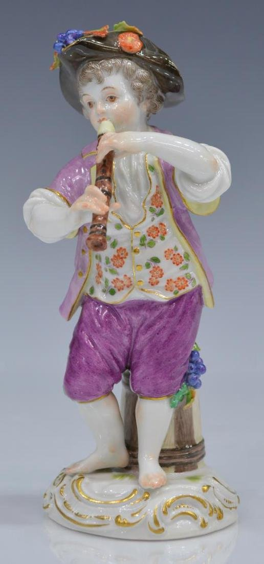 19TH C. MEISSEN FIGURE OF BOY WITH FLUTE