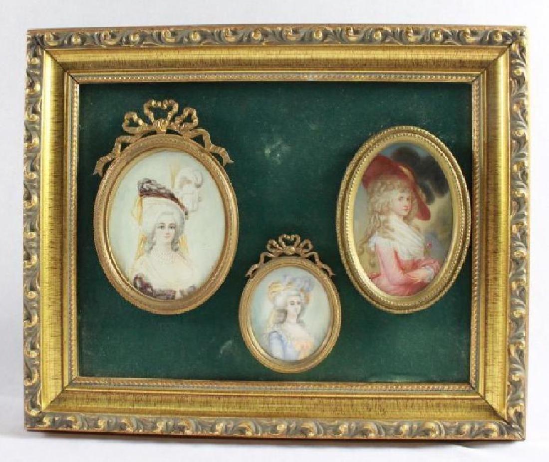 PORTRAIT OF 3 WOMEN IN 18TH C COSTUME