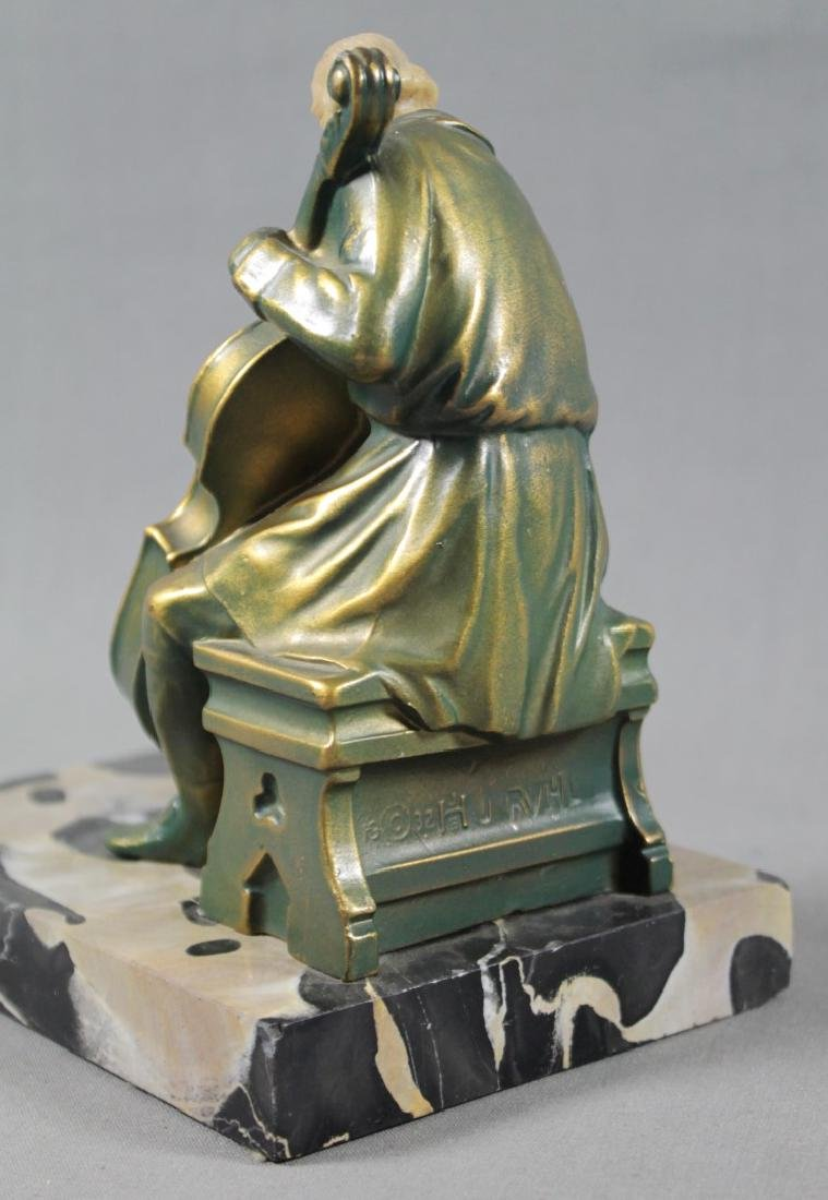 PAIR OF FIGURAL BRONZE AND MARBLE BOOKENDS - 4