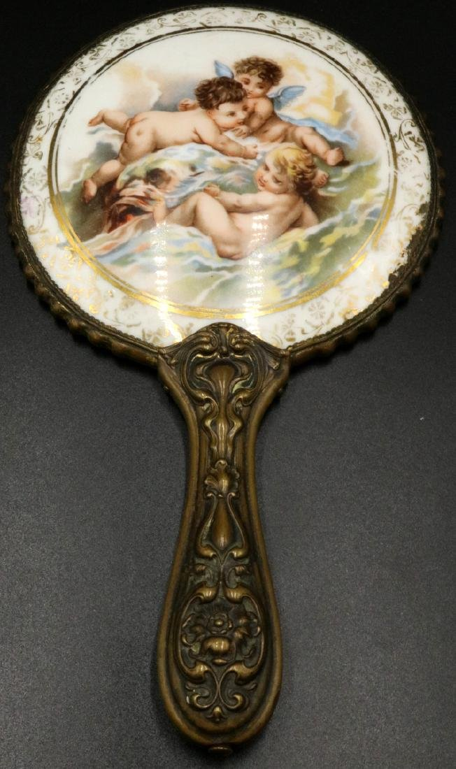 Antique French Painted Porcelain Vanity Mirror