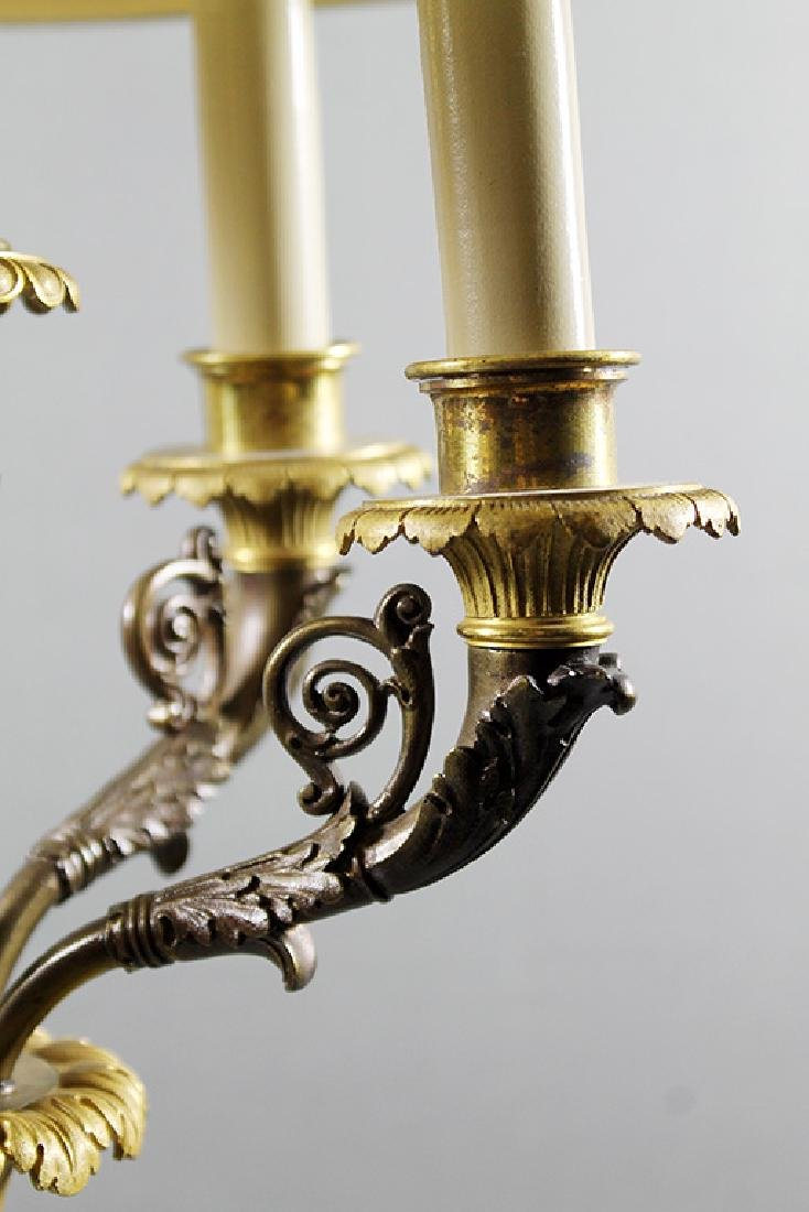 "PAIR OF FRENCH MARBLE AND BRONZE CANDELABRA LAMPS 43"" X - 3"