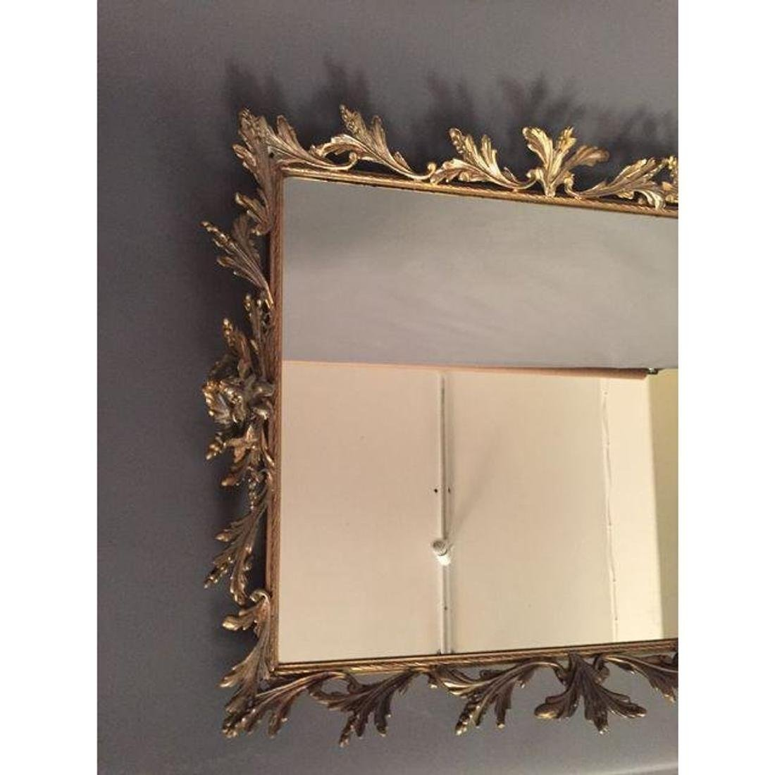Antique French Mirror Brass Tray - 2