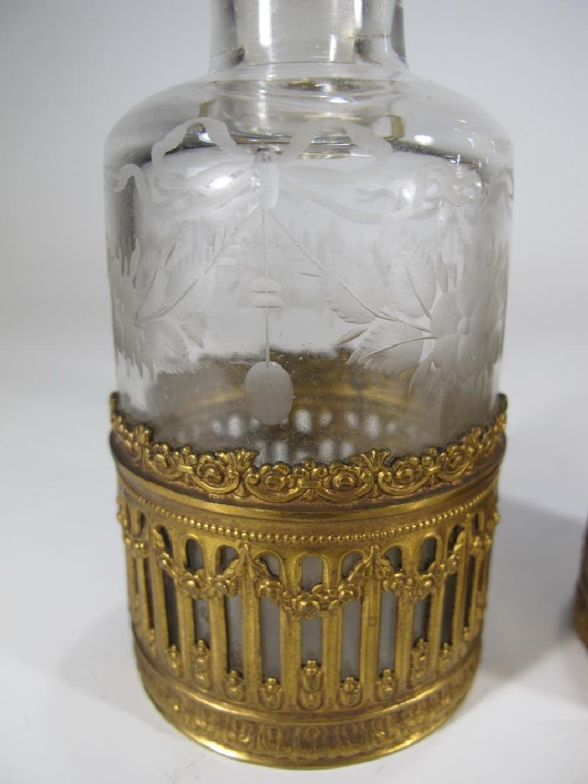 Antique French Baccarat style pair of bottles - 2