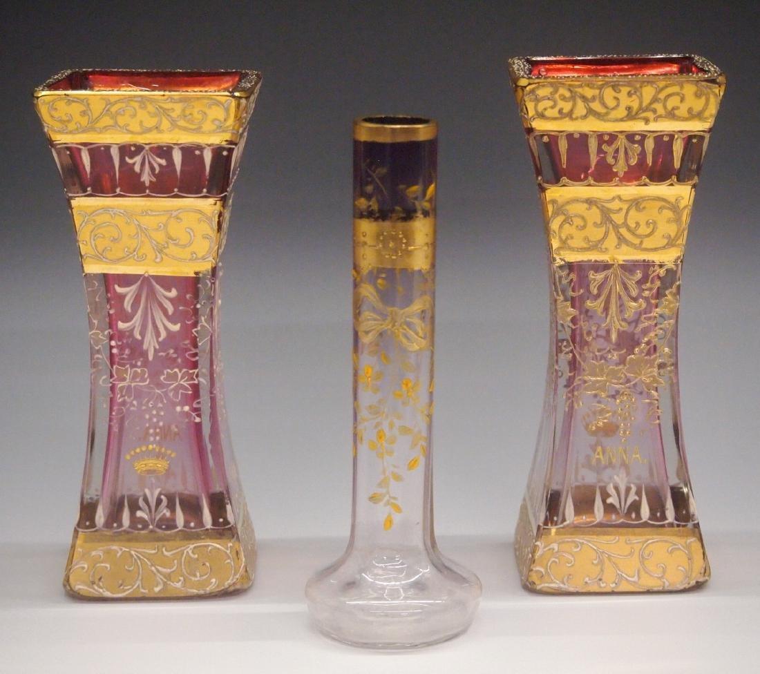 3 19th C. Glass Vases