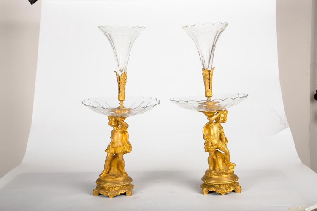 Large Pair Of French Bronze Figural Glass Epergnes - 4
