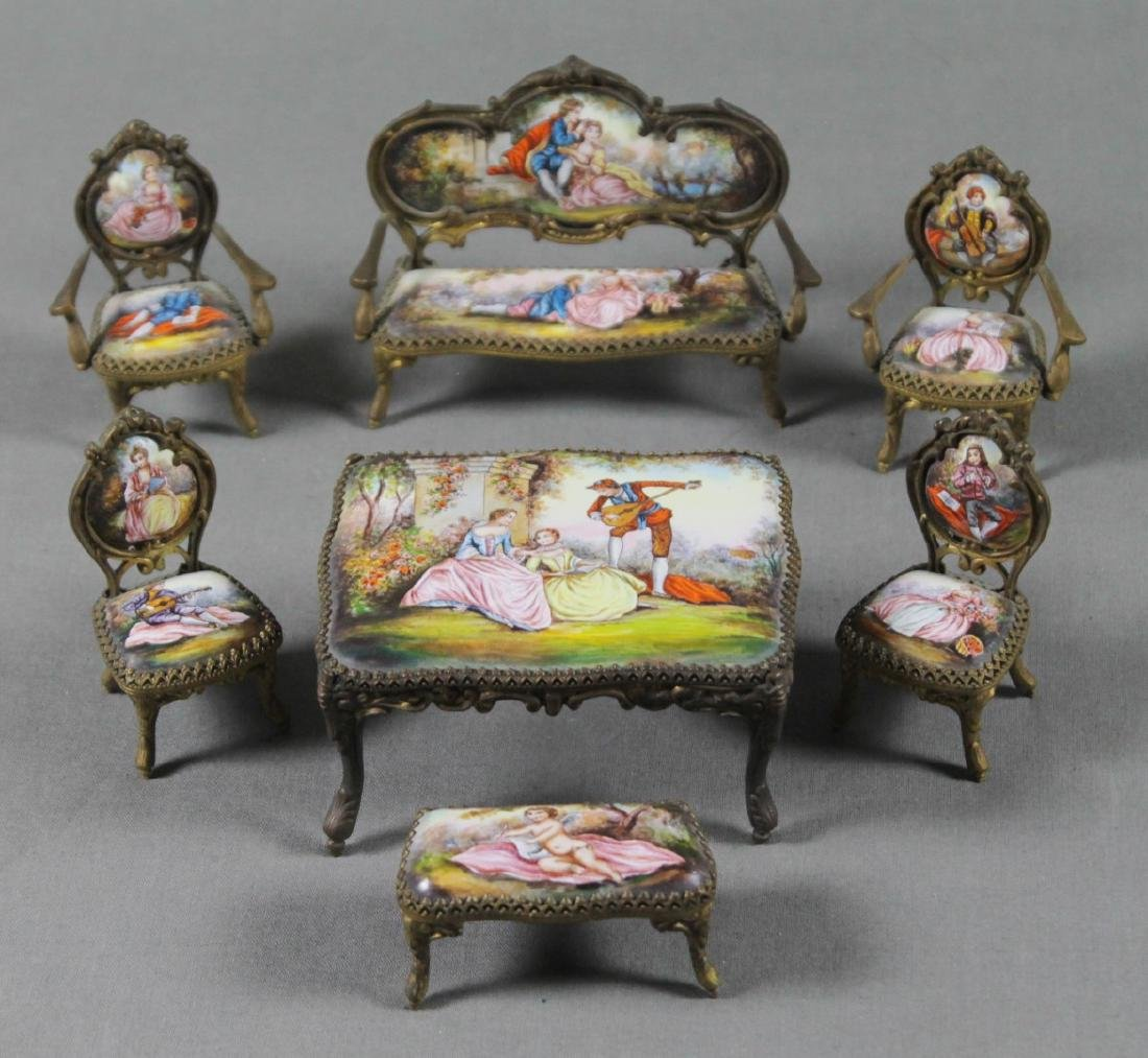 7 Pc. Viennese Enamel Miniature Furniture Set