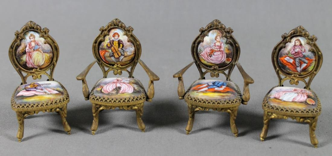 7 Pc. Viennese Enamel Miniature Furniture Set - 4