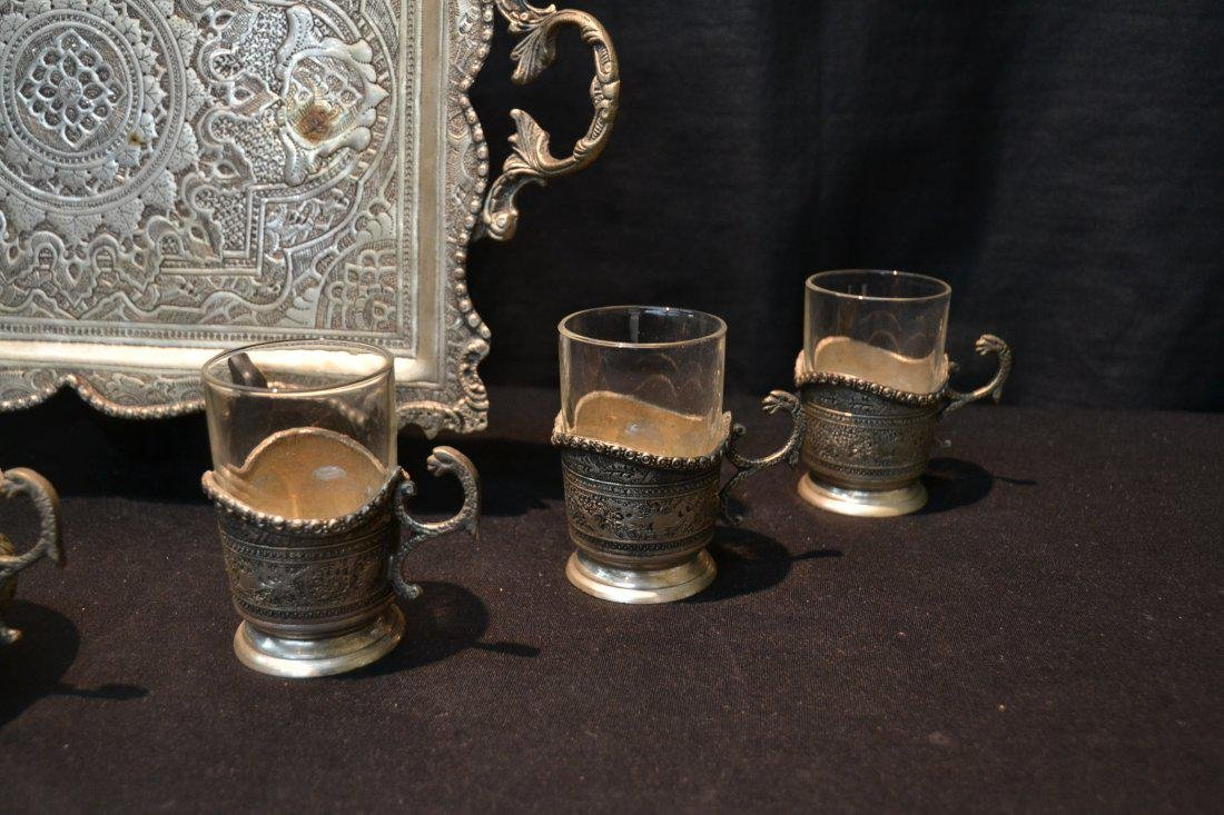 8 Pc. Engraved Silver Plated Tea Set - 4