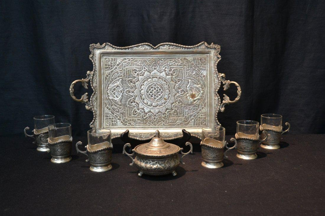 8 Pc. Engraved Silver Plated Tea Set - 8