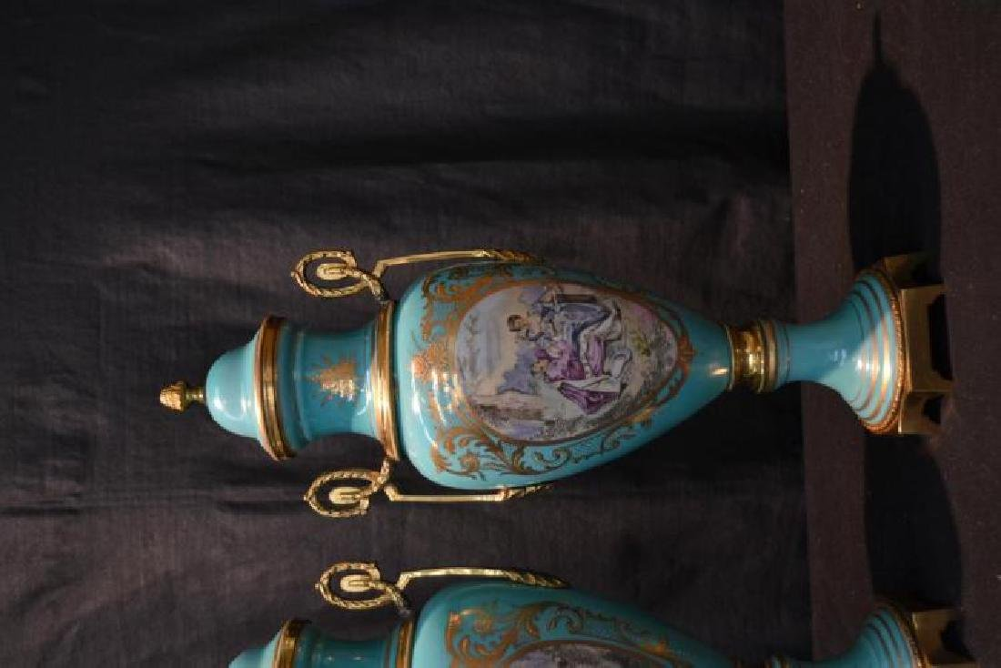 Pair Of Sevres Style Covered Urns - 3