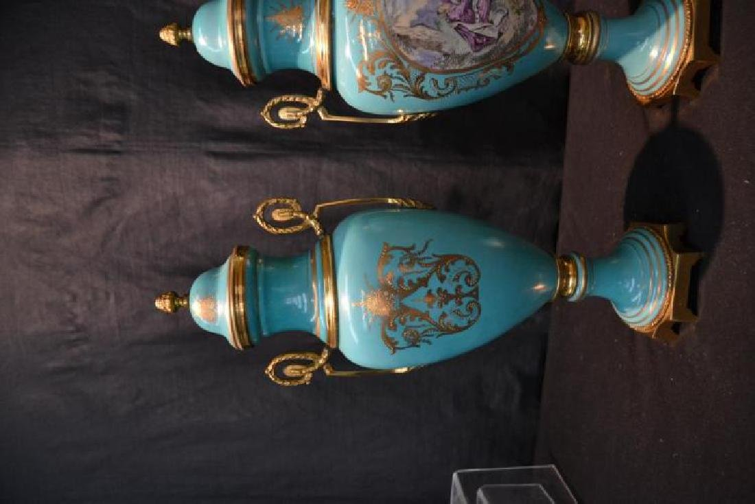 Pair Of Sevres Style Covered Urns - 5