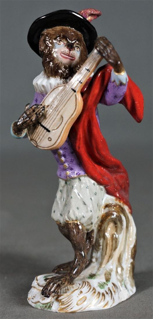 Antique Meissen Dresden Porcelain Monkey Mandolin