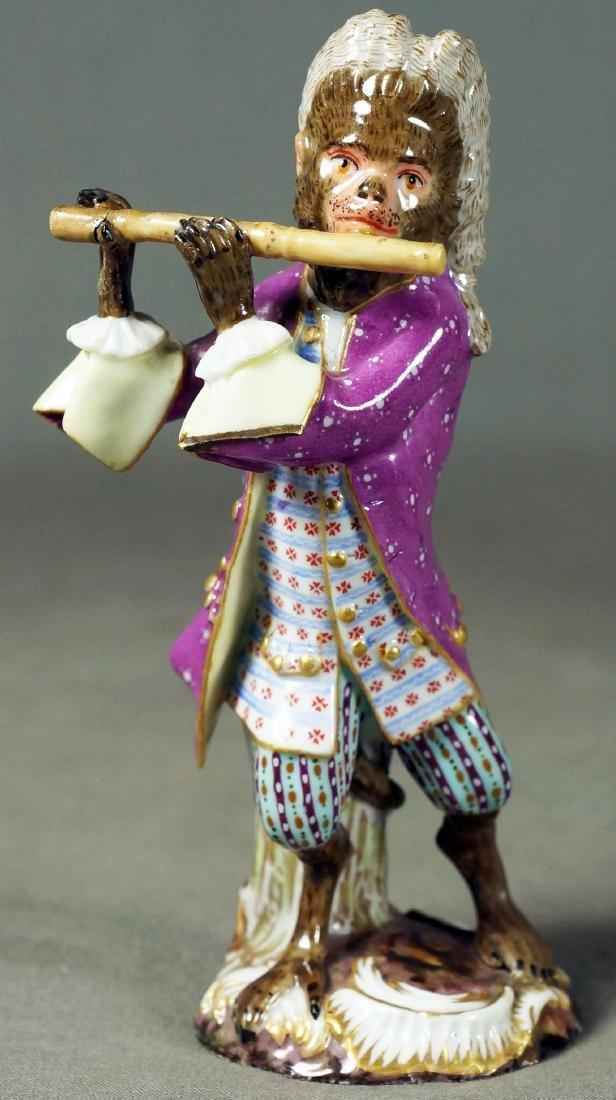 Antique Meissen Dresden Porcelain Monkey Flute Player