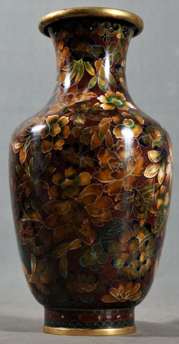 Dented Chinese Floral Cloisonne Vase
