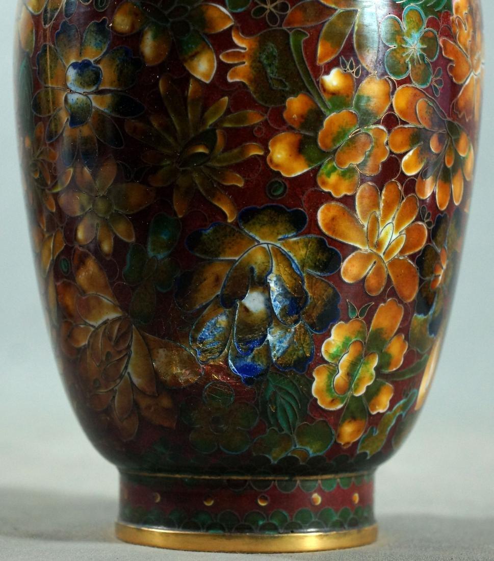 Dented Chinese Floral Cloisonne Vase - 2