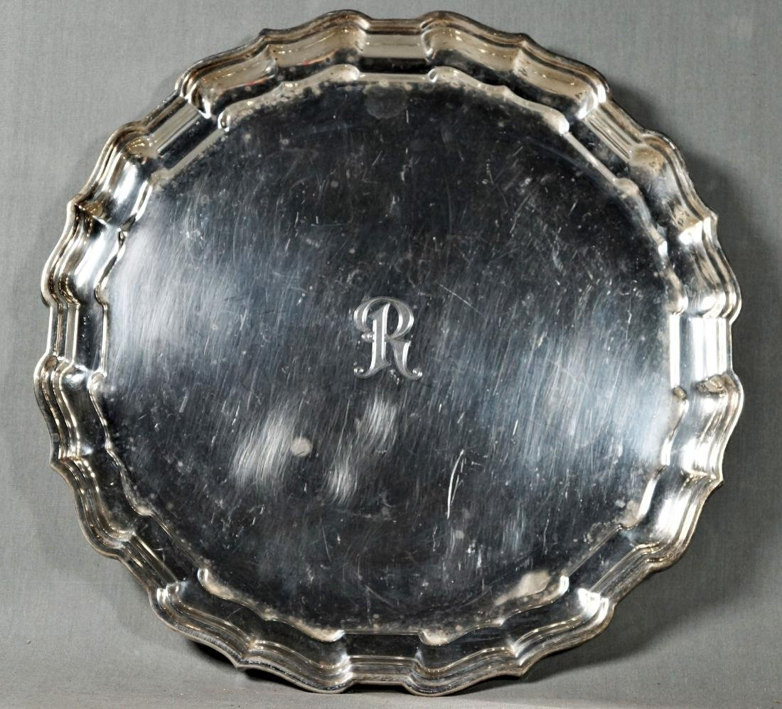 Scalloped Edge Round Sterling Tray