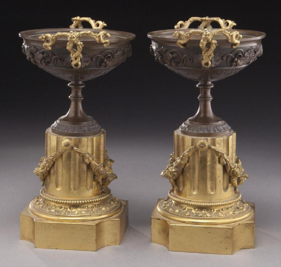 Pr. Gilt And Patinated Bronze Tazza - 2