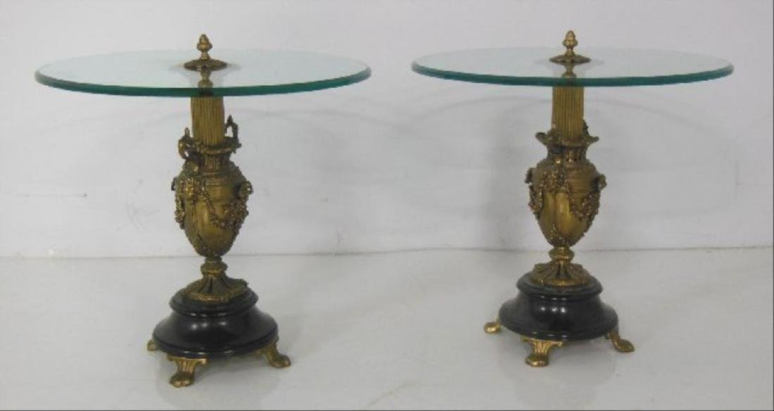 Pair Urn Based Glass Top End Tables - 3