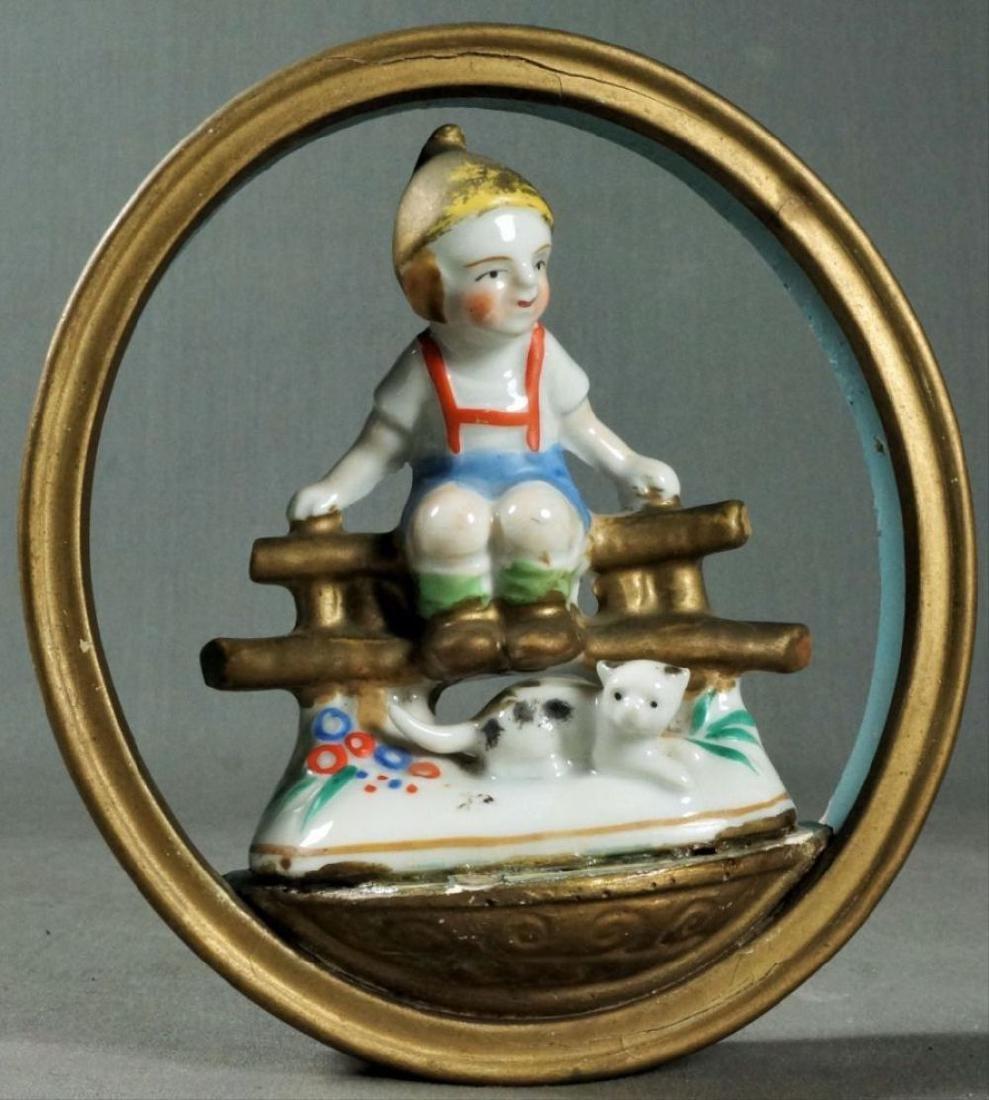 German Porcelain Figure Of Boy On Fence