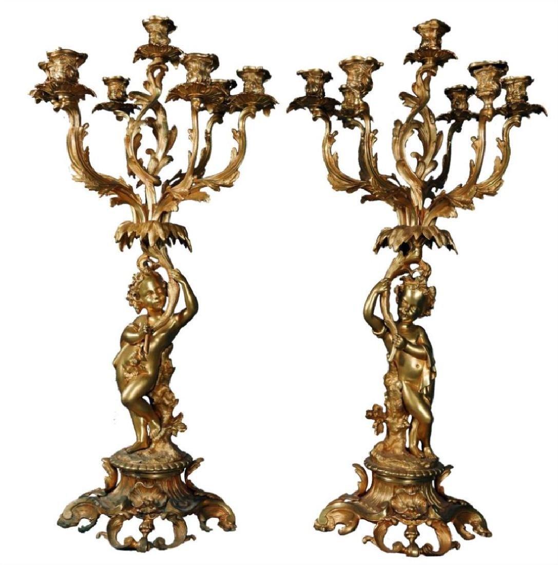 Pr. French Bronze Seven Light Candelabra