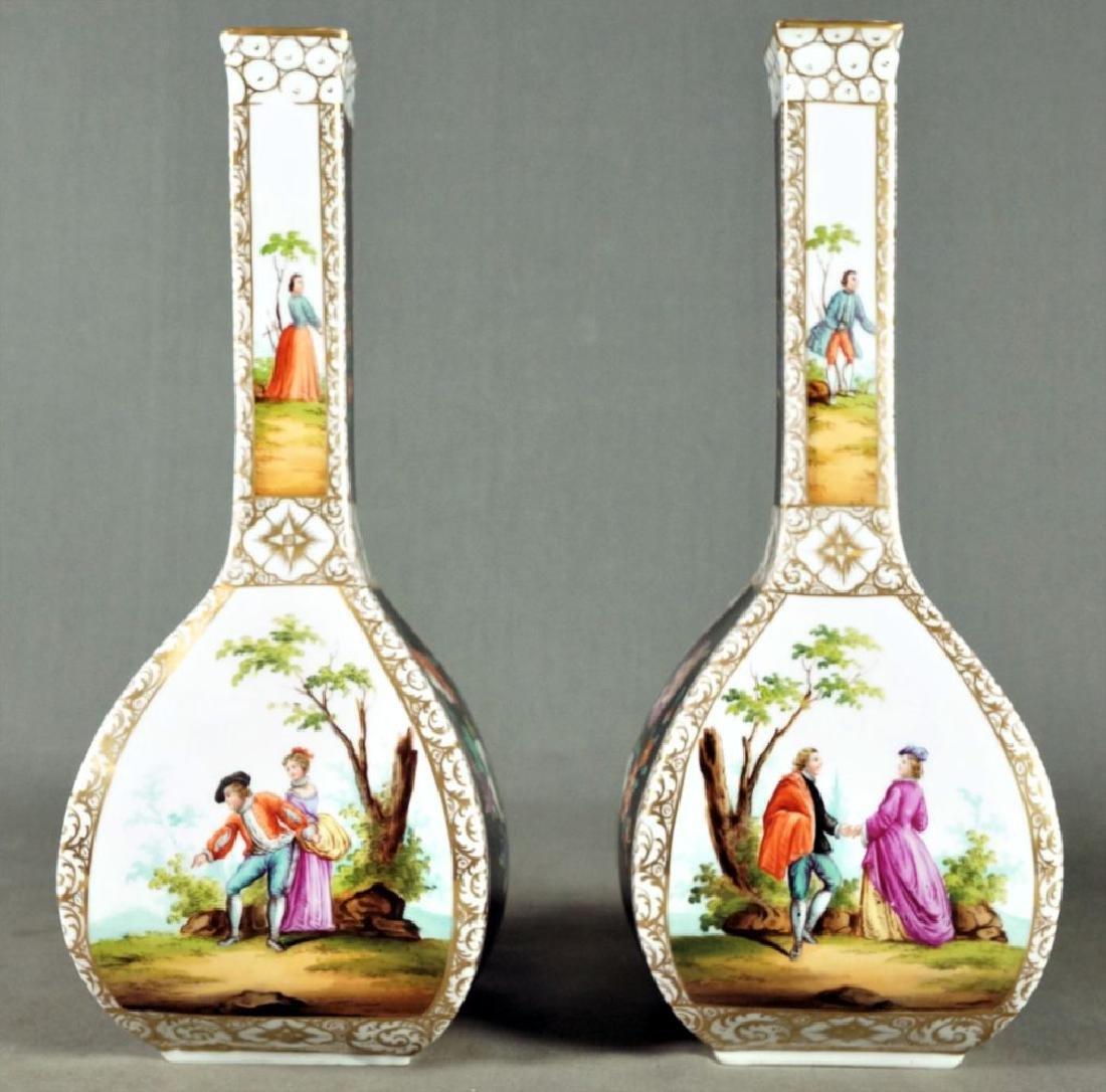 Pair Of Dresden Porcelain Vases